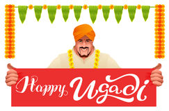Hindu man holds banner happy ugadi Royalty Free Stock Photography