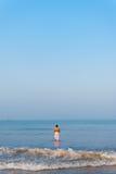 Hindu Man Ocean Rear Praying Surf Offering Stock Photography