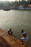 Hindu Men Bathing Gokarna Reservoir Morning Steps Royalty Free Stock Images
