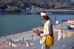 Hindu Monk. By Ganga river in Rishikesh. Himalaya Royalty Free Stock Photo
