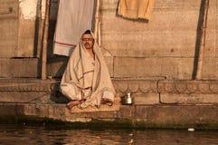 Hindu monk praying Stock Photo