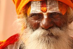 A hindu monk at Varanasi. A Hindu monk, painted his forehead with holy colors on the bank of river Ganga, at Varanasi, India. It is said that Varanasi is the