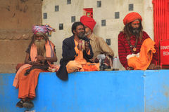 Hindu musicians in Varanasi royalty free stock photo