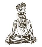 Hindu in national dress. Indian spiritual monk meditating and landmark or architecture. Traditional religious sadhu. Engraved hand drawn in old sketch, vintage Stock Images