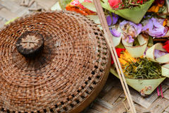 Hindu offerings and gifts to god in the temple in Bali, Indonesia Royalty Free Stock Image