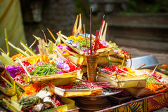 Hindu offerings at the temple in Bali, Indonesia Stock Images