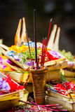 Hindu offerings at the temple in Bali, Indonesia Royalty Free Stock Images