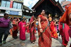 Hindu people celebrating the Dasain in Kathmandu, Nepal Royalty Free Stock Image