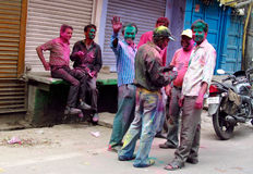 Hindu people celebrating the festival of colours Holi in India Stock Photos