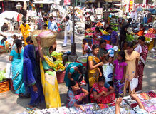 Hindu people in Indian market Stock Photo