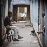 Hindu people on the sacred old town of Varanasi Royalty Free Stock Photo