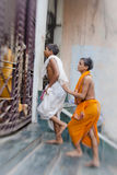 Hindu people on the sacred old town of Varanasi Royalty Free Stock Images