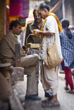 Hindu people on the sacred old town of Varanasi Royalty Free Stock Photography