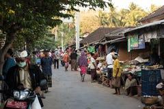 Hindu peoples at the traditional street market, Bali Royalty Free Stock Photos