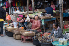 Hindu peoples at the traditional street market, Bali Royalty Free Stock Images