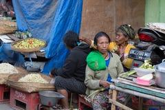 Hindu peoples at the traditional street market, Bali Stock Image