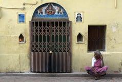 Hindu Pilgrim in Madurai. Hindu pilgrim outside Meenakshi Amman temple in Madurai, India Royalty Free Stock Photos