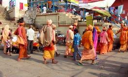 Hindu pilgrim men in India Stock Photos