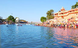 Hindu pilgrimage site, kshipra river wide view at great kumbh mela, Ujjain, India Royalty Free Stock Image