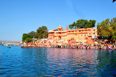 Hindu pilgrimage site, kshipra river wide view at great kumbh mela, Ujjain, India Stock Image