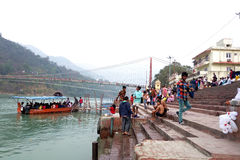 Hindu Pilgrimage to the Ganges. A typical scene on the banks of the Ganga river in North India of Indian pilgrims coming from their villages to pay homage to the stock photo