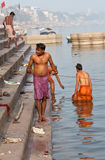 Hindu pilgrims after bathing in the Ganges river Stock Image