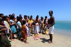 Hindu pilgrims do rituals at Dhanushkodi, Tamil Nadu, India. Royalty Free Stock Photo