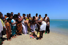Hindu pilgrims do rituals at Dhanushkodi, Tamil Nadu, India. Royalty Free Stock Photos