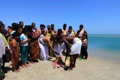 Hindu pilgrims do rituals at Dhanushkodi, Tamil Nadu, India. Royalty Free Stock Photos