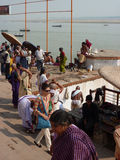 Hindu pilgrims and holy men Stock Photo
