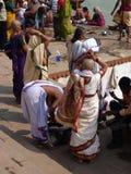 Hindu pilgrims and holy men Stock Image