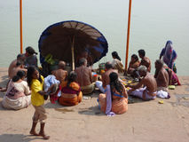Hindu pilgrims and holy men Royalty Free Stock Photo