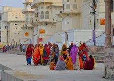 Hindu pilgrims praying in Pushkar, India Stock Photography