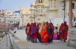 Hindu pilgrims praying in Pushkar, India Royalty Free Stock Photo