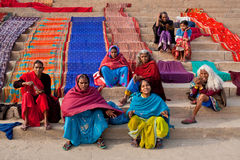 Hindu pilgrims in Varanasi Royalty Free Stock Images