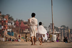Hindu Pilgrims at Varanasi Stock Photo