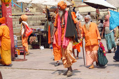 Hindu piligrim man in orange clothes in Varanasi Royalty Free Stock Image