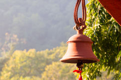 Hindu prayer bells in remote temple in forest Stock Images