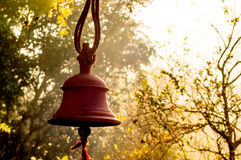 Hindu prayer bells in remote temple in forest Royalty Free Stock Images
