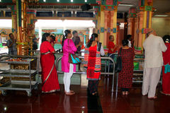 Hindu Prayers at Sri Mahamariamman Temple Stock Photos