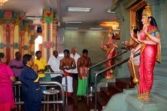 Hindu Praying Ceromony, Sri Mahamariamman Temple Stock Image
