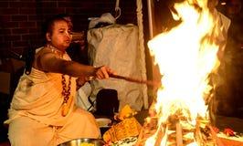 Hindu priest. Performing sacred rituals Stock Images