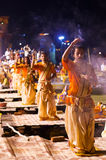 A Hindu priest performs the Ganga Aarti religious  ritual Stock Photo