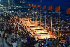 A Hindu priest performs the Ganga Aarti ritual in Varanasi, India Stock Photography
