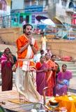 A Hindu priest performs the Ganga Aarti ritual in Varanasi. Royalty Free Stock Image