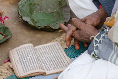 An hindu priest is reading mantra during Shivaratri festival, Nepal Royalty Free Stock Photo