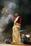 Hindu priest during religious Ganga Aarti ceremony Stock Photos