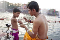 Hindu Priests at Kumbh Mela Stock Images