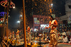Hindu priests perform an aarti in Varanasi, India. Royalty Free Stock Photo