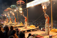 Hindu priests perform an aarti in Varanasi, India. Royalty Free Stock Photos